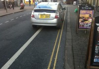 Contra-flow bike lane by Wetherspoons - constantly parked on by taxis!
