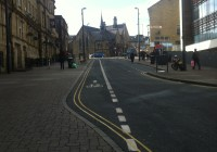 Contra-flow cycle lane in Bradford
